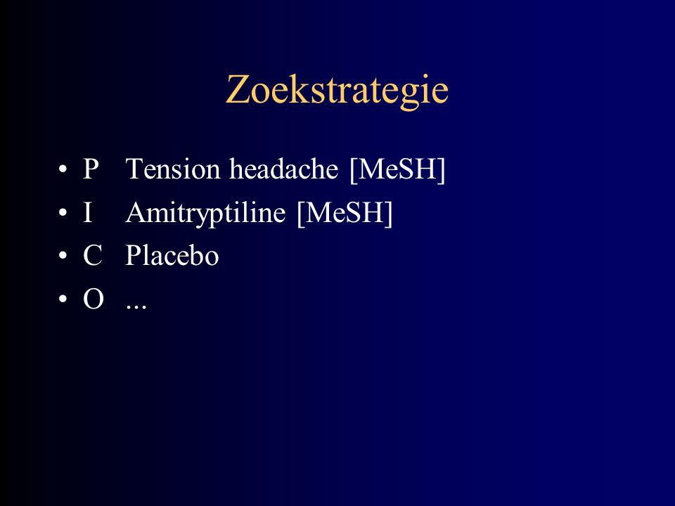 Zoekstrategie P Tension headache [MeSH] I Amitryptiline [MeSH]